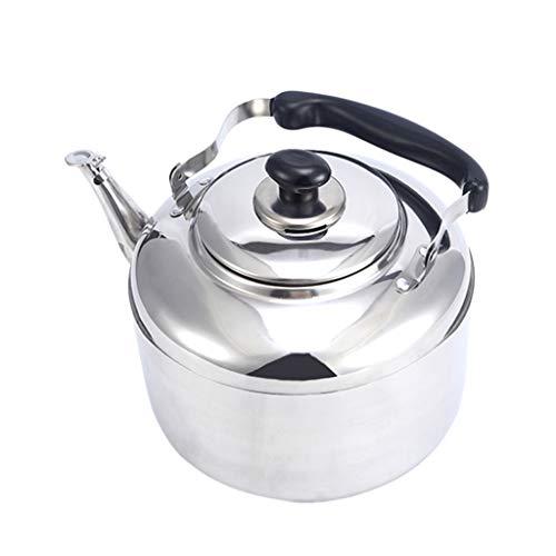 SM SunniMix Bollitore per Fischietto in Acciaio Inox Cucina/Casa Campeggio con Fornello A Gas Argento 4/5 / 6L - Argento, 5L