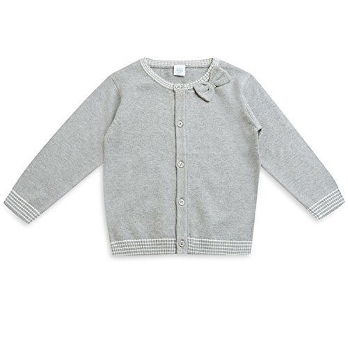Mini Klub Girl's Knit Sweater With Front Button Open ( Grey Marl_18-24 months)