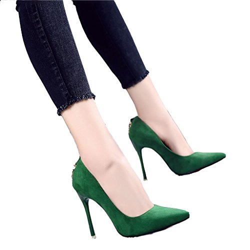 Hyun Times Green High Heels Pointed Fine with Sexy Shoes
