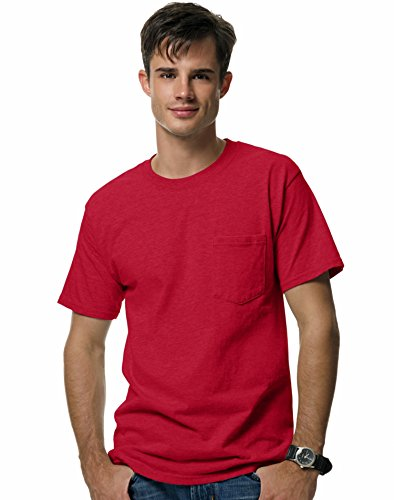 hanes-beefy-pocket-t-shirt-a-manches-courtes-rouge-x-large