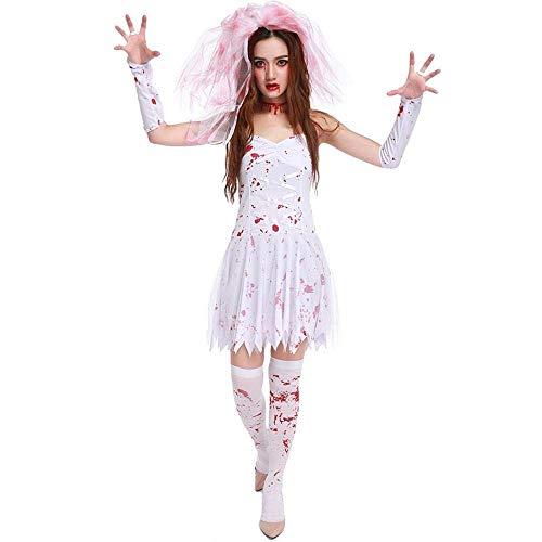 Fashion-Cos1 Halloween Horror Kostüme Damen Halloween Kostüm Blut Vampir Kostüm Dark Ghost Bride Princess Dress (Size : M)