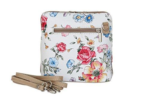AMBRA Moda - Borsa di pelle a tracolla Donna, borsa piccolo Blumen Sand