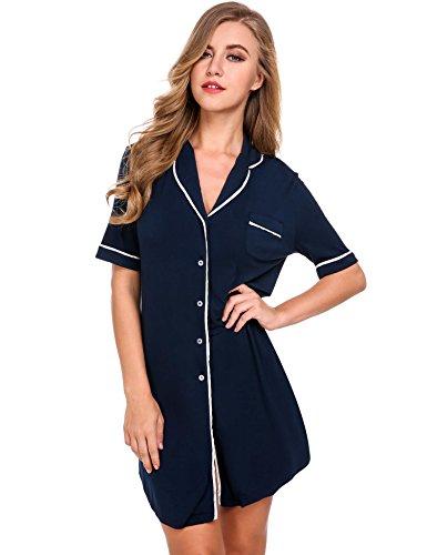 Keland Damen Nachthemd Hemd Negligee Luxus Nachtwäsche Sleepshirt mit Reverskragen und Brusttasche (Sleepshirt Boyfriend)