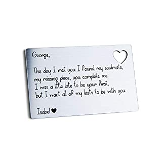 Personalised Wallet Card Insert I Love You Soul mate Gifts For Him/Her All Of My Lasts Boyfriend Girlfriend Christmas Valentines Present