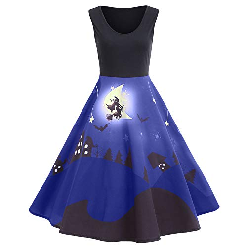 VECDY Damen Kleid, Herbst Frauen Vintage Print Sleeveless Halloween langes Kleid Elegantes Karneval Kleid Exquisite Hexe Print Dress Pullover