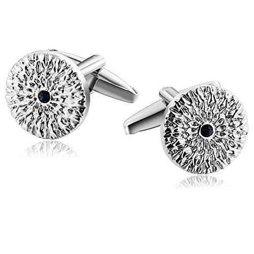 Aienid gemelli da polso uomo acciaio fiore rotondo con cz argento blu gemelli per uomo