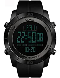 Tayhot - Reloj digital para hombre, color negro, 50 m, resistente al agua