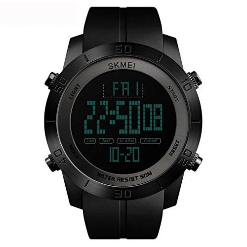 tayhot Herren Schwarz Digital Uhren, 50wasserdicht digital Armbanduhr mit Wecker/Timer, LED Back Light groß Face Stop Watch Outdoor Militär für Herren Sport Laufen/Wandern/Klettern