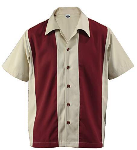 Herren Bowling Shirt Worker Hemd Rockabilly Two Tone Gabardine Lounge Fifties Vintage Retro Double Panel D600 (Medium, Beige/Red)