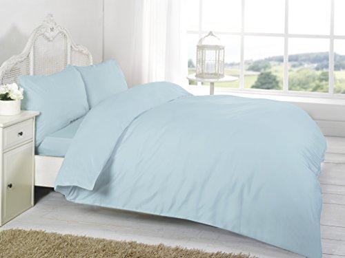 Aqua King Bettbezug (Night zoon Luxus 200Fadenzahl unifarben Bettbezug mit Kissen in Allen Größen, Baumwolle, Aqua, King 230x220cm)