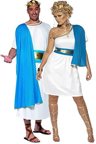 Fancy Me Paar Herren & Damen Römische Toga Party historisch altertümlich Griechisch Griechisch Kostüm Verkleidung Outfit - Weiß, Ladies UK 16-18 & Mens Large, - Womens Toga Kostüm Griechische