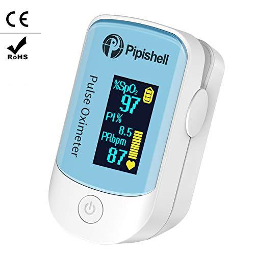 Pulsossimetro da Dito - Pulsossimetro a grande schermo OLED per la SpO2, PR e l'indice di perfusione(PI) con l'audio e la modalità Auto-Sleep - portatile e leggero - Include cordino e batteria