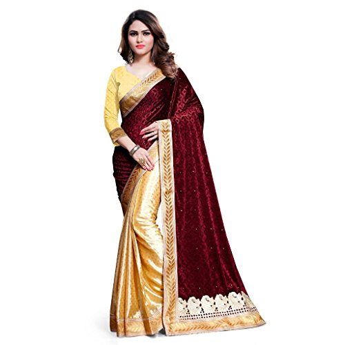 KAVVYA FASHION Women's Velvet Saree With Blouse Piece (Kavvyavlb07_Beige & Maroon)