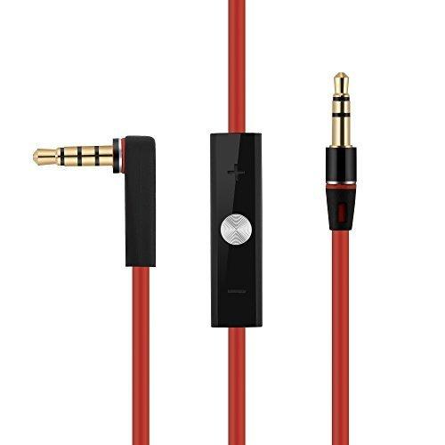 OKCS AUX Audio Stereo Hi-Fi Kabel Verlängerungskabel Verbindungskabel für Monster Beats by Dr. Dre - Rot (Beats-kopfhörer Mit Mikrofon)