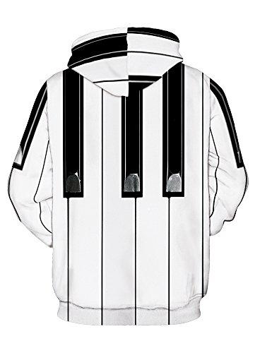 YuanYan Damen 3D Print Pullover mit Kapuze Winter Hoodie Sweatshirt Pulli Klaviertaste