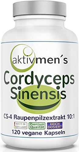 VERGLEICHSSIEGER 2019** aktivmen´s Cordyceps sinensis hochdosiert - holt Euch die VOLLE VITALPILZ POWER! Von Experten geprüft* 120 Kapseln CS-4 Raupenpilzextrakt 10:1, 120 Kapseln, 1 Dose (1 x 71,5 g)