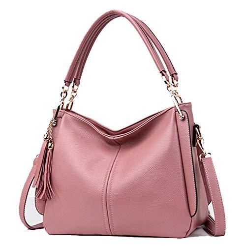 Quaste Handtasche Umhängetasche Mode Messenger Bag Large-Capacity Lederhandtasche für Arbeit, Shopping, Party,Pink
