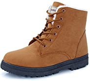 Women's Snow Boots Winter Suede Cotton Warm Fur Lined Ankle Boot Outdoor Anti-Slip Waterproof Booties Lace