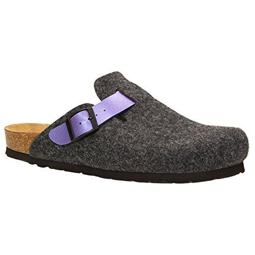 ZWEIGUT® -Hamburg- komood #345 Pantoffeln Hausschuhe Damen Komfort Wollfilz Puschen Clogs Latschen Leder-Komfort-Fußbett, Schuhgröße:38, Farbe:dunkelgrau (Komfort-clogs)