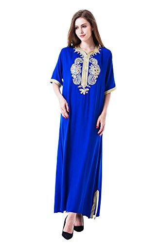 Foto de Musulmán islámica abaya / jalabiya kaftan caftán dubai maxi vestido largo para las mujeres ropa vestido de rayón 1606
