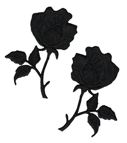 Aufnäher Blumen Schwarz Aufbügler Abzeichen Bügelbild Aufnäherbild Patches