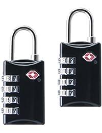 TSA Luggage Locks 2pc 4-Dial Combination Viaje Maletas Bagaje Bolsa Contraseña Negro Aprobado Bloqueo para Maletas Mochilas Escuela Gimnasio