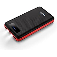 TopMate Batería Externa 20000mAh para iPhone, Samsung, iPad, LG, HTC, Kindle, Tablets etc, Tres Puertos con Luz LED Fácil de Llevar (Rojo)