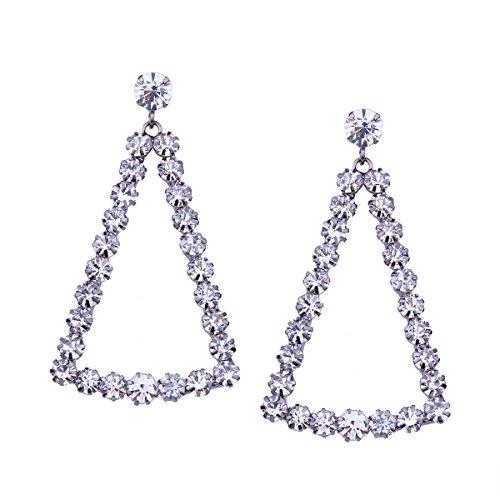 Geometrische Drei-licht-anhänger (WKAIJCJ Lange Ohrringe Frau Mode Geometrisch Dreieck Anhänger Temperament Ohrringe 3 5 * 6 2 Cm,White-OneSize)