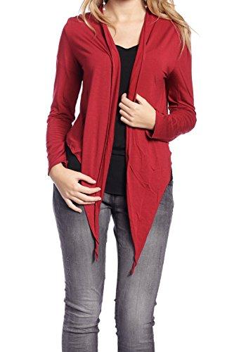 Abbino 4080 Basic Boleros Damen Frauen - Made in ITALY - 9 Farben - Cardigans Sommer Herbst Unifarben Vintage Locker Lässig Casual Sexy Elegant Festlich Sale Langarm - One Size (36-38) Rot