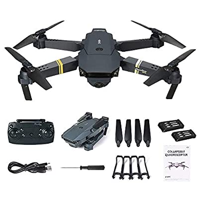 squarex E58 2MP w/ 720P Camera WIFI FPV Foldable Selfie Drone RC Quadcopter RTF + 2 Batteries, One-key Take-off & Landing, Foldable Design, Easy to Fly for Beginners
