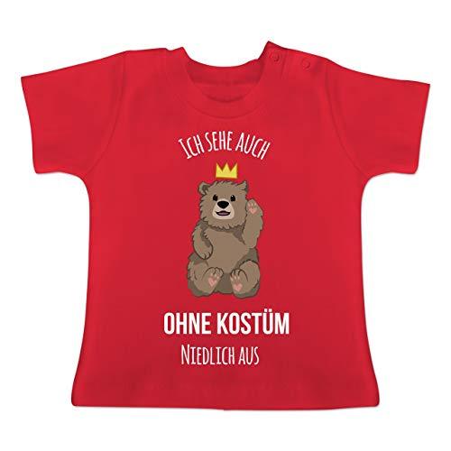 Karneval und Fasching Baby - Ich Sehe auch ohne Kostüm niedlich aus - 6-12 Monate - Rot - BZ02 - Baby T-Shirt Kurzarm (Cute Baby Animal Kostüm)