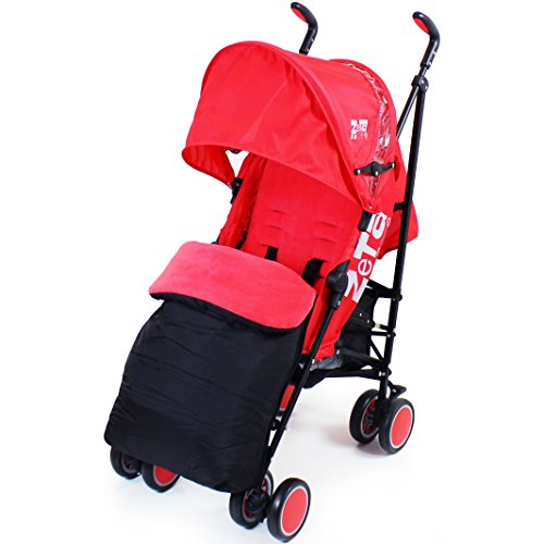 Zeta Citi Stroller Buggy Pushchair - Red (Complete With Footmuff + Raincover)