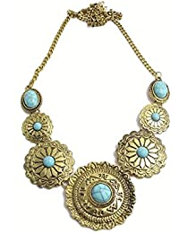 Hilore Gypsy Vintage Inspired Red & Golden Necklace For Girls & Womens