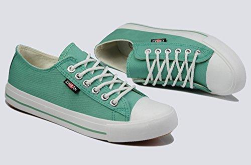 Damen Frühling Sommer Helle Schnürsenkel Flache Einfache Jeans Canvas Laufschuhe Sneakers Grün