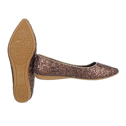 Slipper Damenschuhe Low-Top Moderne Ital-Design Halbschuhe Bronze