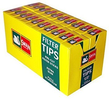 swan Swan Extra Slim Filter Tips Full Box 20 Packs Of 120 = 2400 Tips by NA