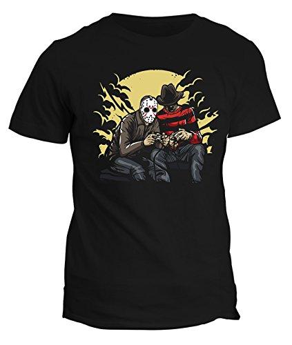 Tshirt Horror gamers - freddy - vintage - 80's - 90's - videogame - parody - stree art - humor - tshirt divertenti