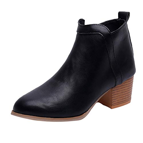Ni_ka Damenmode Vintage Niedriger Absatz Starker Absatz Kurzer Stiefel Ankle Booties Stiefel Schuhe Warm Mujer Klassisch Schwarz EU:36.5 -