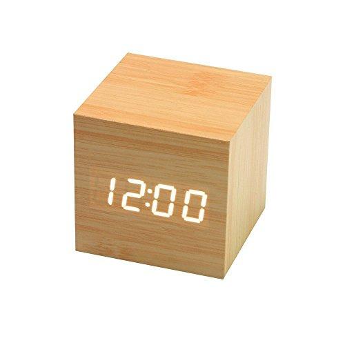 Onerbuy Wooden Digital Cube Wecker Touch Sound Aktiviert Schreibtisch Uhr Tragbare Reise Uhr mit LCD Display für Zeit, Temperatur, Kalender, 3 Alarm Einstellungen (Hölzern) - Mit Schreibtisch-uhr Temperatur