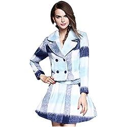 Nueva gran tamaño de las mujeres 's de la tela escocesa de lana chaqueta de traje de falda + , xl