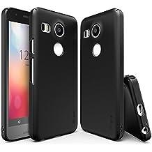 Funda Nexus 5X 2015, Ringke SLIM **Esencial Ultra Delgada** [GRATIS HD Protector de Pantalla][SF BLACK] Ajuste Perfecto & Ultra Delgado Curvo Protección de Borde, Resistente a los Arañazos Doble Recubrimiento Duro Delgado Funda para Google Nexus 5/ 5X 2nd Gen 2015 (No para Nexus 5 2013)