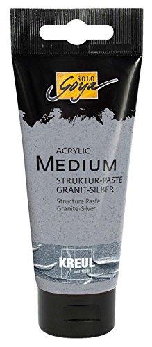 Kreul 85401 - Solo Goya Acrylic Medium, Strukturpaste, 100 ml Tube, Granit - silber