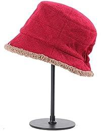 Categoría sombreros de mujer, la nueva colección otoño-invierno hat, high-end contraíble cálido gorro de lana, Rojo