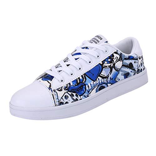Anglewolf Laufschuhe Herren und Damenschuhe Sneakers Running Shoes Graffiti-Schuhe für Laufschuhe Liebhaber Laufschuhe Atmungsaktiv Turnschuhe Sportschuhe Sneaker(Blau,36 EU) Dc Metallic-heels