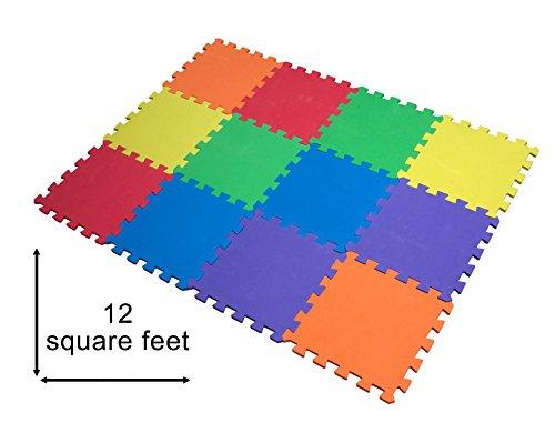 12er Puzzlematte Kinderspielteppich Spielmatte Puzzleteppich Schaumstoffmatte schadstofffrei für Baby Puzzleteppich Steckmatte Spielteppich Krabbelmatte Turnmatte