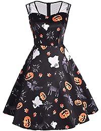 a4201982c73fb3 Damen Kürbis Print Kleider,Transwen Halloween-Frauen Mesh Patchwork  gedruckt Vintage Kleid ärmelloses Party