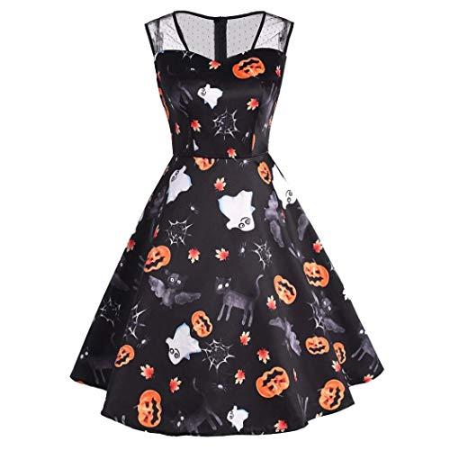 (Damen Kürbis Print Kleider,Transwen Halloween-Frauen Mesh Patchwork Gedruckt Vintage Kleid ärmelloses Party Kleid Swing Kleid Festliche Cocktailkleid (S, Schwarz))