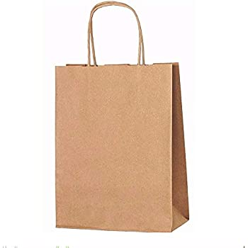 10x Brown Paper Gift Bags With Twisted Handles 18cm X