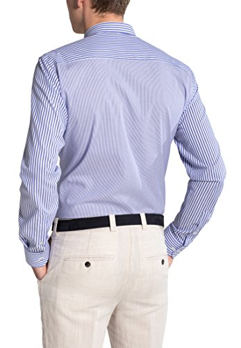 Eterna Long Sleeve Shirt Slim Fit Stretch Striped Blu/Bianco