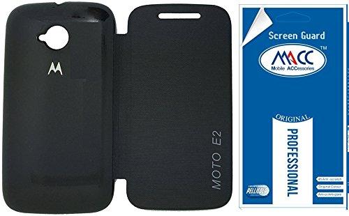 MACC Flip Cover Case For Moto E (2nd Gen) 3G - Black + Free Clear Screen Guard